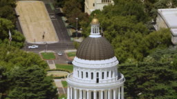 AERIAL Dome of the California State Capitol in Sacramento, CA