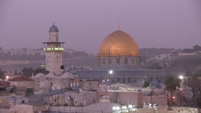 dome of the rock mosque - twilight stock videos & royalty-free footage