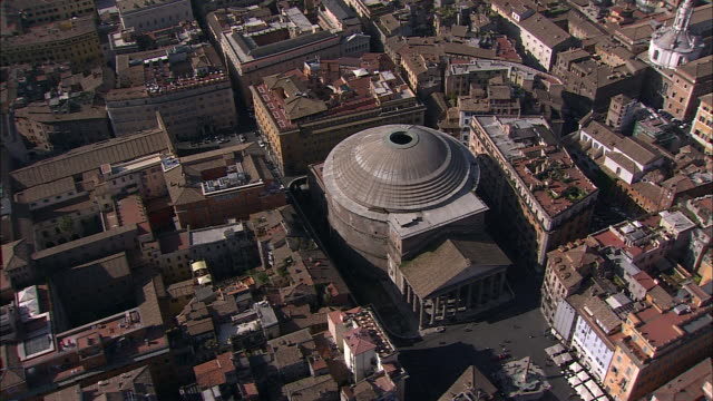 a dome tops the pantheon in rome's piazza della rotonda. - pantheon rome stock videos and b-roll footage