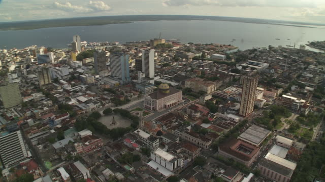a dome tops the teatro amazonas in downtown, manaus, brazil. - manaus stock videos and b-roll footage