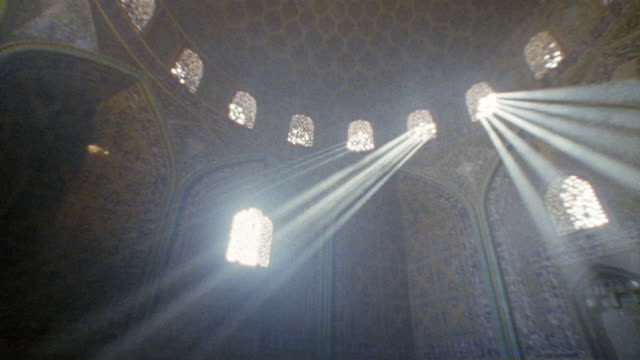 WS PAN domed room in Sheikh Lotfollah Mosque with sunlight coming through windows/ Isfahan, Iran