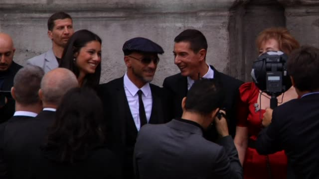 domenico dolce, marika pellegrini and eros rmazzotti at the dolce & gabbana 20 years of menswear party red carpet arrivals at milan . - dolce & gabbana stock videos & royalty-free footage