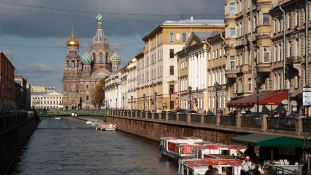 domes of the church of the saviour on spilled blood, saint petersburg, russia - time lapse - st. petersburg russia stock videos & royalty-free footage