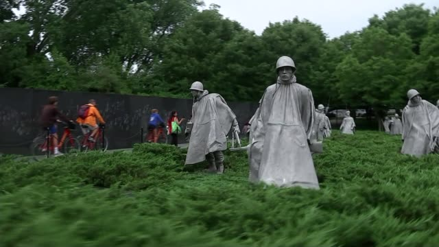 Domestic reaction to Donald Trump's summit in Singapore USA Washington DC Statues at the Korean War Veterans Memorial Washington DC Korean War...