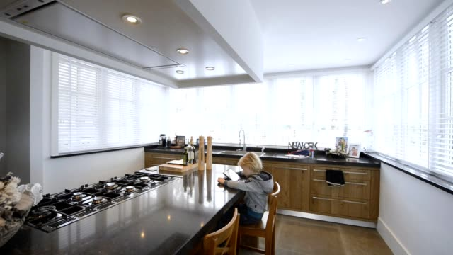 domestic scene in Beautiful Kitchen in Luxury Home with cooking Island