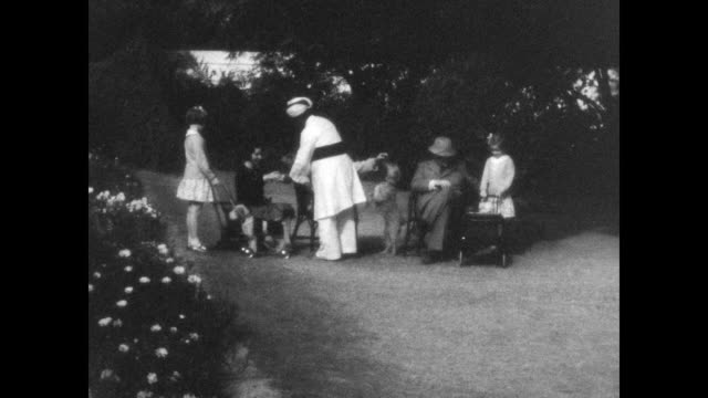 domestic staff serves drinks to austen havelock layard and family as they sit on chairs in garden of his official residence. from the home movies of... - colonial stock videos & royalty-free footage