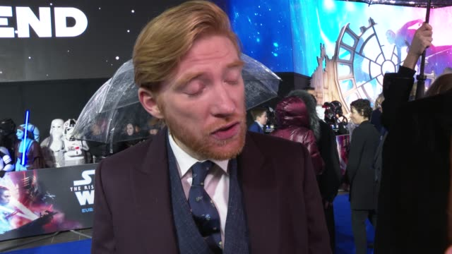 """domhnall gleeson on being part of a big set, the time it takes to film, keeping the secrets of the plot at """"star wars: the rise of skywalker"""" - uk... - whispering stock videos & royalty-free footage"""