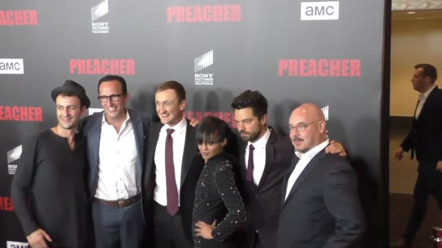 dominic cooper and ruth negga at the premiere of amc's 'preacher' at regal la live stadium 14 in los angeles at celebrity sightings in los angeles on... - preacher stock videos & royalty-free footage