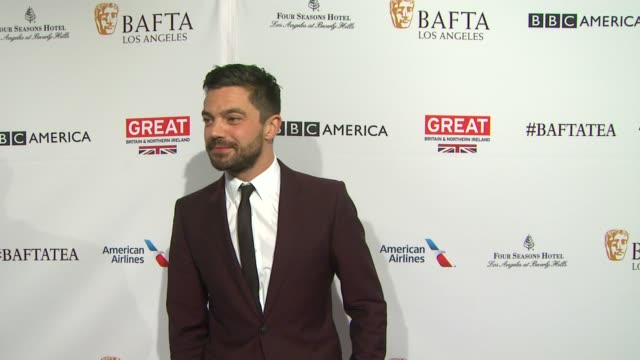vídeos de stock, filmes e b-roll de dominic cooper at the bafta los angeles awards season tea party at four seasons hotel los angeles at beverly hills on january 09 2016 in los angeles... - tea party