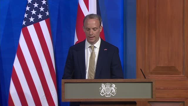 dominic raab and antony blinken press conference: main camera; press conference part 2 of 11 england: london: westminster: downing street: int... - coworker stock videos & royalty-free footage