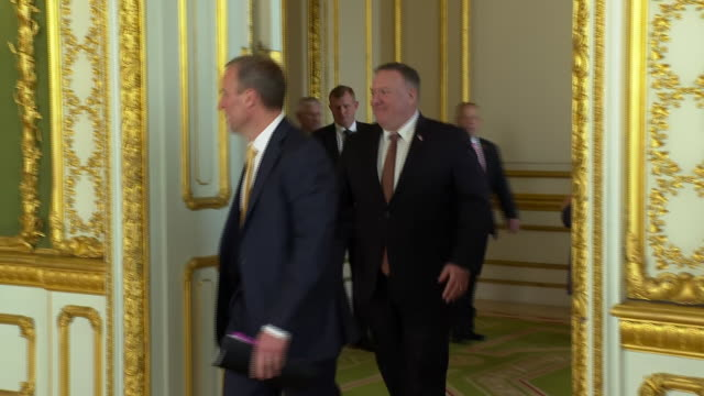 dominic raab and mike pompeo at the foreign office - building feature stock videos & royalty-free footage