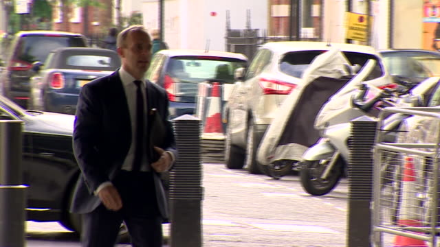 stockvideo's en b-roll-footage met dominic raab arriving at bbc broadcasting house for an interview with andrew marr - andrew marr