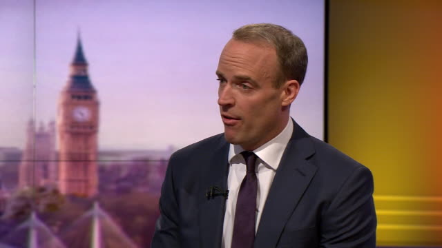 dominic raab explaining why he is a good candidate for prime minister in the conservative party leadership contest - world trade organisation stock videos & royalty-free footage