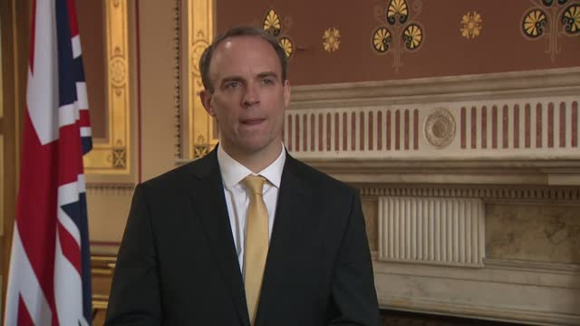dominic raab interview; england: london: westminster: int dominic raab mp interview sot -covax - brazil variant - speed of the essence? always has... - 創始者点の映像素材/bロール