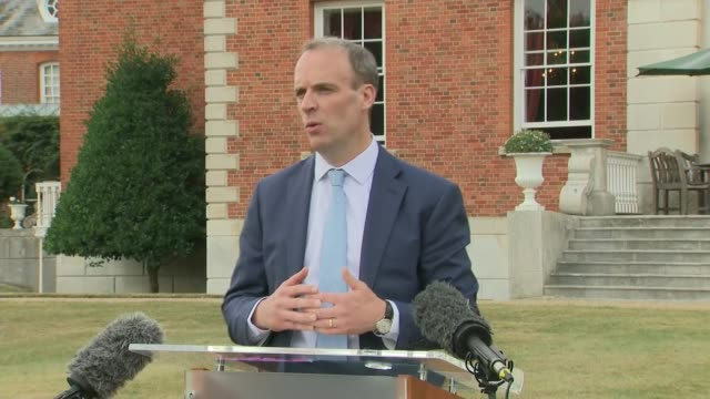 dominic raab meeting with german foreign minister heiko maas england kent chevening chevening house ext press conference part 1 of 6 heiko maas and... - debt stock videos & royalty-free footage