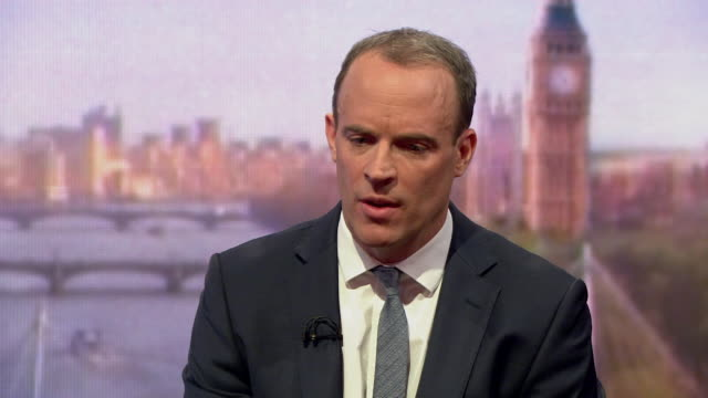 dominic raab saying he backs theresa may despite resigning as brexit secretary and any leadership challenge is a distraction from trying to get a... - leadership stock videos & royalty-free footage