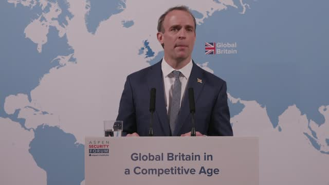 dominic raab speech at aspen security forum; england: london: westminster: int dominic raab mp speech sot . - ...put simply, we've got clout. britain... - g force stock videos & royalty-free footage