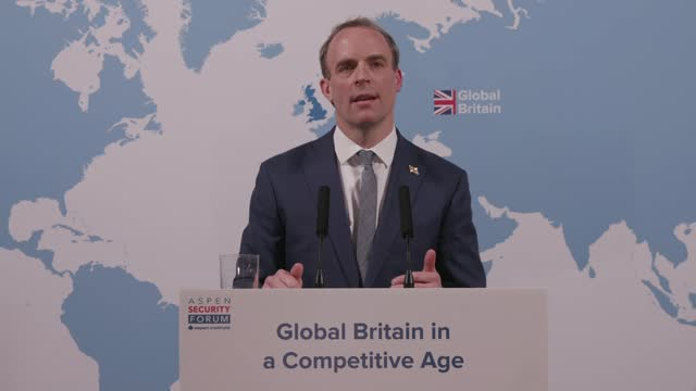 dominic raab speech at aspen security forum; england: london: westminster: int dominic raab mp speech sot . because it's in our dna, because it's our... - particle stock videos & royalty-free footage