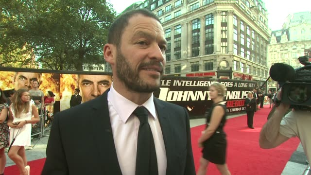 dominic west on being a fan of rowan atkinson from a very young age at the johnny english reborn uk premiere at london england. - rowan atkinson stock videos & royalty-free footage
