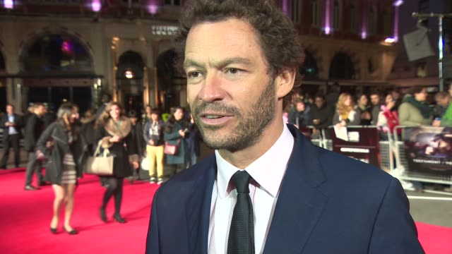 interview dominic west on the power of the story doing a derbyshire accent and his future work at 'testament of youth' centerpiece gala screening at... - odeon leicester square stock videos and b-roll footage
