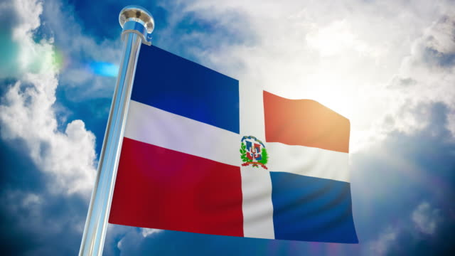 4k - dominican flag | loopable stock video - dominican revolutionary party stock videos & royalty-free footage