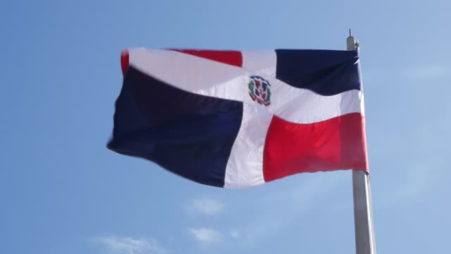 dominican flag - santo domingo dominican republic stock videos & royalty-free footage