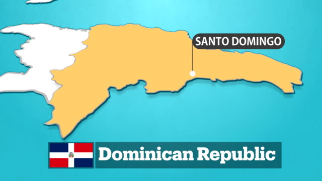 dominican map with flag - dominican republic stock videos & royalty-free footage