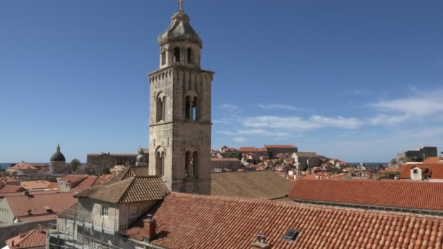 PAN / Dominican monastery and people walking on the city walls of Dubrovnik