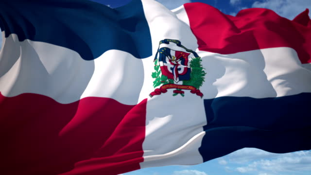 dominican republic flag - santo domingo dominican republic stock videos & royalty-free footage