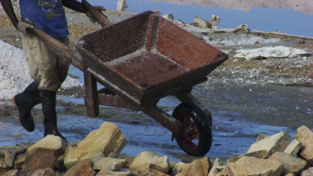 dominican republic: salt marshes with workers - wheelbarrow stock videos and b-roll footage