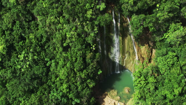 dominican republic: waterfall in the jungle - dominican republic stock videos and b-roll footage