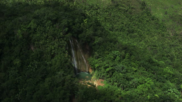 dominican republic: waterfall in the jungle - hispaniola stock videos & royalty-free footage