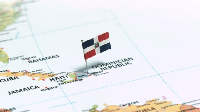 dominican republic with national flag - dominican republic stock videos & royalty-free footage