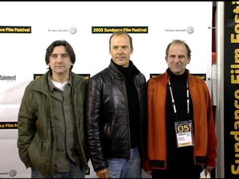 dominick dunne, michael keaton, and michael hoffman at the 2005 sundance film festival 'game 6' premiere at the eccles theatre in park city, utah on... - park city utah video stock e b–roll