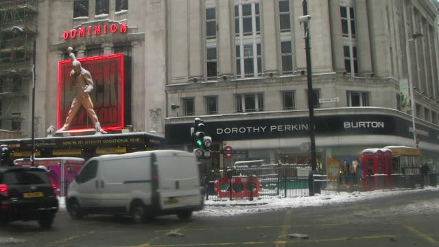 WS Dominion Theatre covered with snow, London, United Kingdom