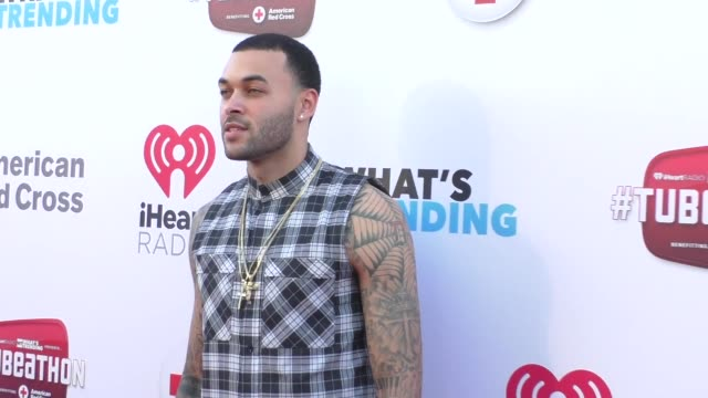 don benjamin at the what's trending's fourth annual tubeathon benefitting american red cross at iheartradio theatre in burbank at celebrity sightings... - fourth occurrence stock videos & royalty-free footage