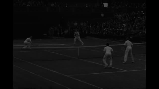 vs don budge plays charles hare wins they shake hands / cu budge / budge plays doubles with gene mako against raymond tuckey frank wilde / tuckey... - davis cup stock videos & royalty-free footage