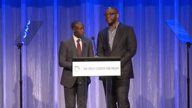 vídeos de stock, filmes e b-roll de speech don cheadle and tyler perry at the paley center for media's tribute to africanamerican achievements in television presented by jpmorgan chase... - four seasons hotel