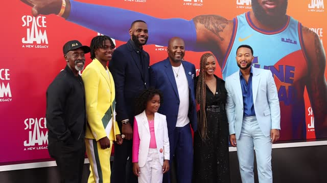 don cheadle, ceyair wright, lebron james, harper leigh alexander, malcolm d. lee, sonequa martin-green, and john legend attends the premiere of... - space jam stock videos & royalty-free footage
