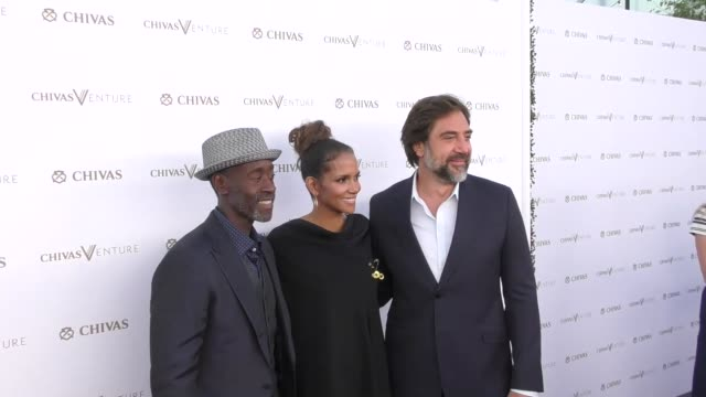 don cheadle halle berry javier bardem at halle berry josh gad announce winners of the chivas venture $1m global startup competition on july 13 2017... - javier bardem stock videos and b-roll footage