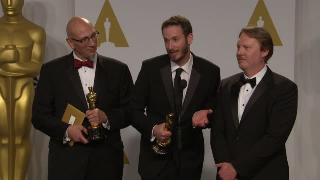 stockvideo's en b-roll-footage met speech don hall chris williams and roy conli at the 87th annual academy awards press room at dolby theatre on february 22 2015 in hollywood california - dolby theatre