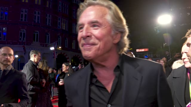 don johnson on the fun the cast had on set, no longer having an ego, the great cast, his singing career at 'knives out' - european premiere - 63rd... - arts culture and entertainment stock videos & royalty-free footage