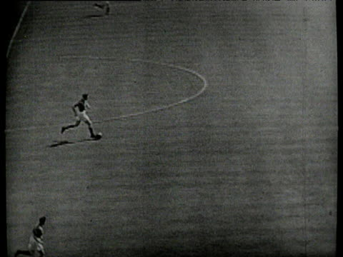 Don Revie plays backheel pass to Joe Hayes Hayes strikes ball low under goalkeeper to score Birmingham City vs Manchester City 1956 FA Cup Final...