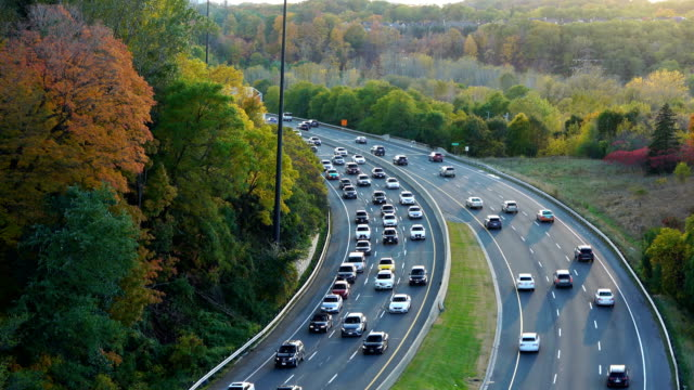 don valley parkway (dvp) in toronto during - highway stock videos & royalty-free footage