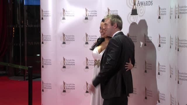 donal macintyre and ameera de la rose at the the irish film & television awards at dublin . - irish film and television awards stock videos & royalty-free footage