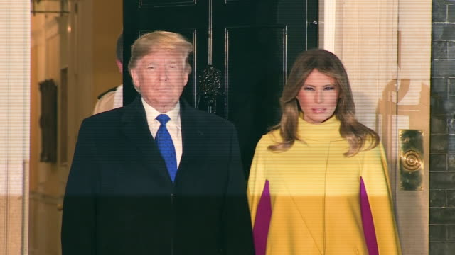 donald and melania trump being serenaded by christmas carol singers on a visit to 10 downing street - meeting stock videos & royalty-free footage