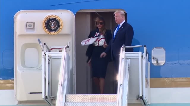 donald and melania trump stepping off air force one after landing in the uk on a state visit - walking stock videos & royalty-free footage