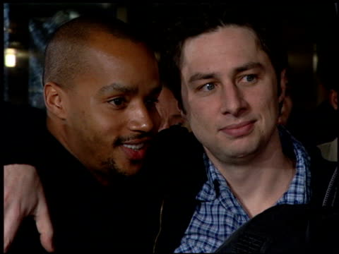 Donald Faison and Zach Braff at the 'Something New' Premiere at the Cinerama Dome at ArcLight Cinemas in Hollywood California on January 24 2006