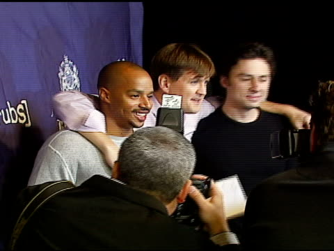 donald faison bill lawrence and zach braff at the 'blue scrubs' celebration of the sixth season of 'scrubs' hosted by johnnie walker blue on november... - zach braff stock videos & royalty-free footage