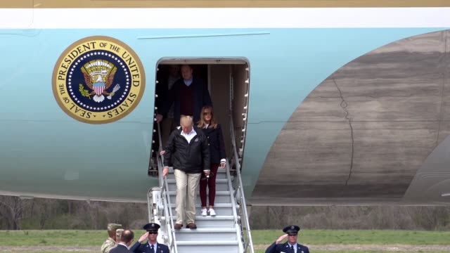 donald j trump and first lady melania trump landed at fort benning's lawson army airfield in air force one on march 8 en route to lee county alabama... - melania trump stock videos & royalty-free footage